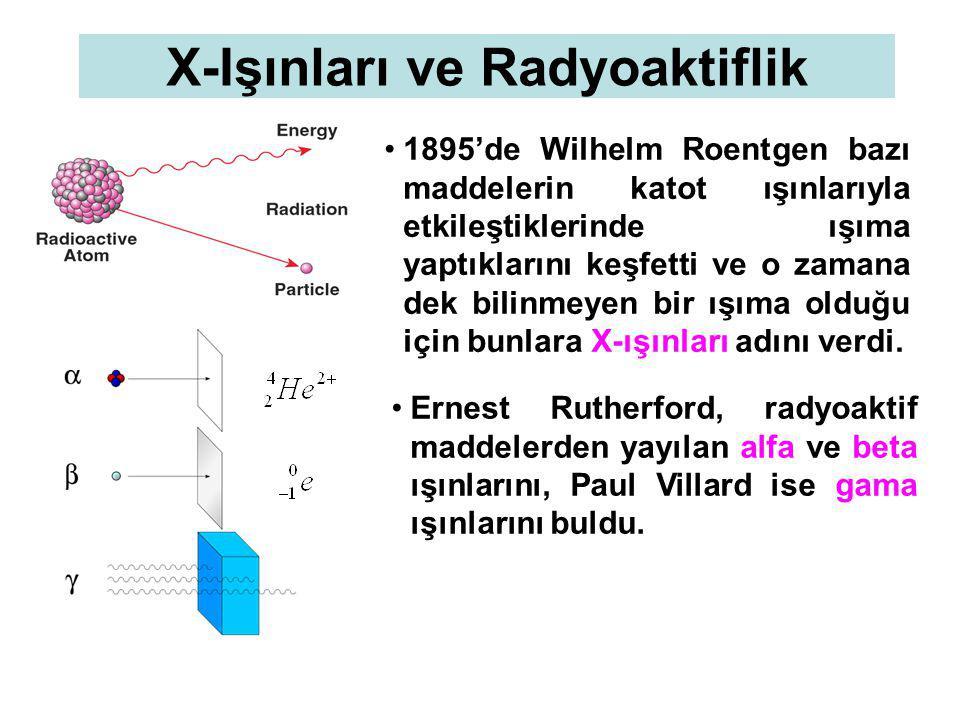 X-Işınları ve Radyoaktiflik 1895'de Wilhelm Roentgen bazı maddelerin katot ışınlarıyla etkileştiklerinde ışıma yaptıklarını keşfetti ve o zamana dek bilinmeyen bir ışıma olduğu için bunlara X-ışınları adını verdi.