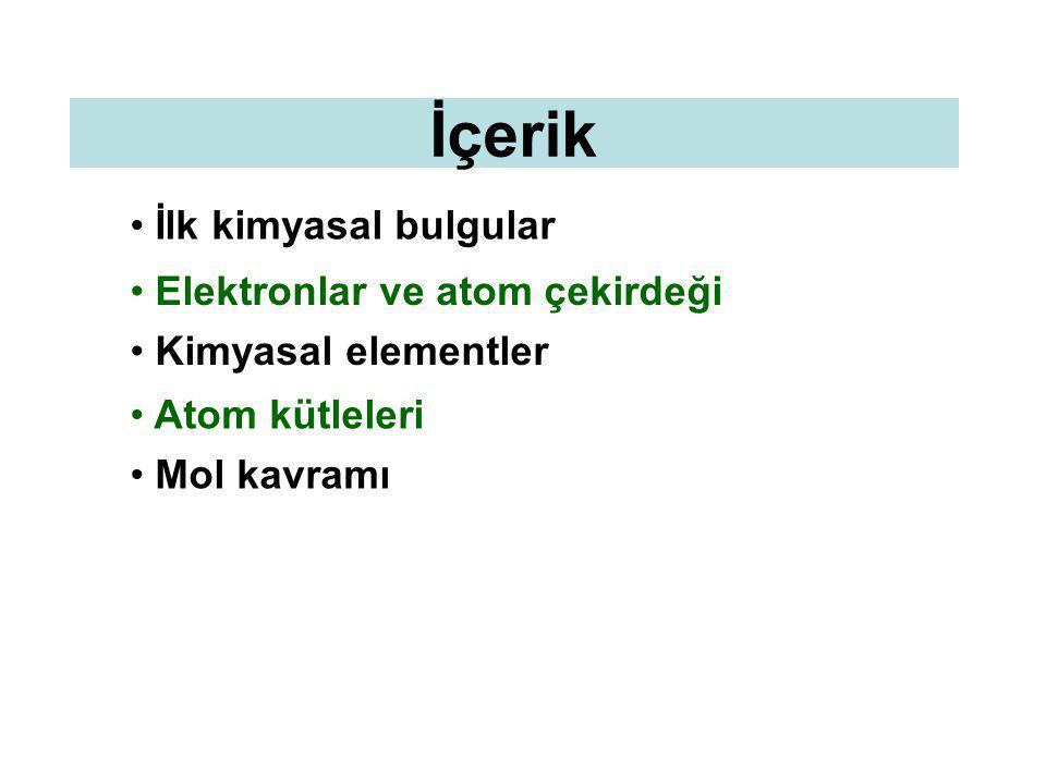 İçerik İlk kimyasal bulgular Elektronlar ve atom çekirdeği Kimyasal elementler Atom kütleleri Mol kavramı