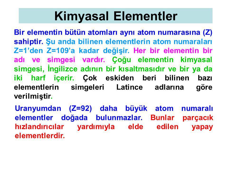 Kimyasal Elementler Bir elementin bütün atomları aynı atom numarasına (Z) sahiptir. Şu anda bilinen elementlerin atom numaraları Z=1'den Z=109'a kadar