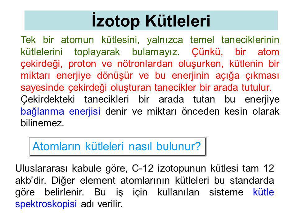 İzotop Kütleleri Tek bir atomun kütlesini, yalnızca temel taneciklerinin kütlelerini toplayarak bulamayız.