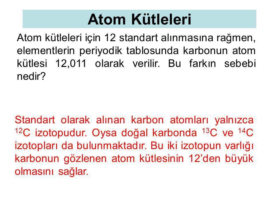 Atom Kütleleri Atom kütleleri için 12 standart alınmasına rağmen, elementlerin periyodik tablosunda karbonun atom kütlesi 12,011 olarak verilir. Bu fa