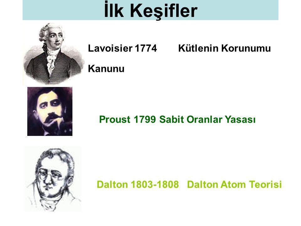 Lavoisier 1774Kütlenin Korunumu Kanunu İlk Keşifler Proust 1799Sabit Oranlar Yasası Dalton 1803-1808 Dalton Atom Teorisi