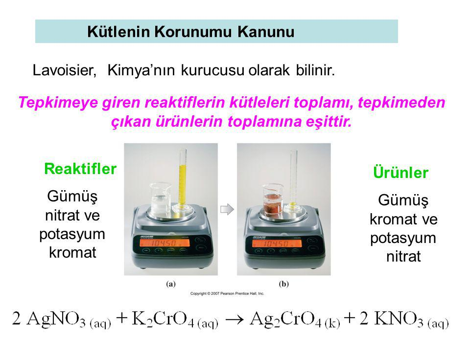 Kütlenin Korunumu Kanunu Tepkimeye giren reaktiflerin kütleleri toplamı, tepkimeden çıkan ürünlerin toplamına eşittir. Gümüş nitrat ve potasyum kromat
