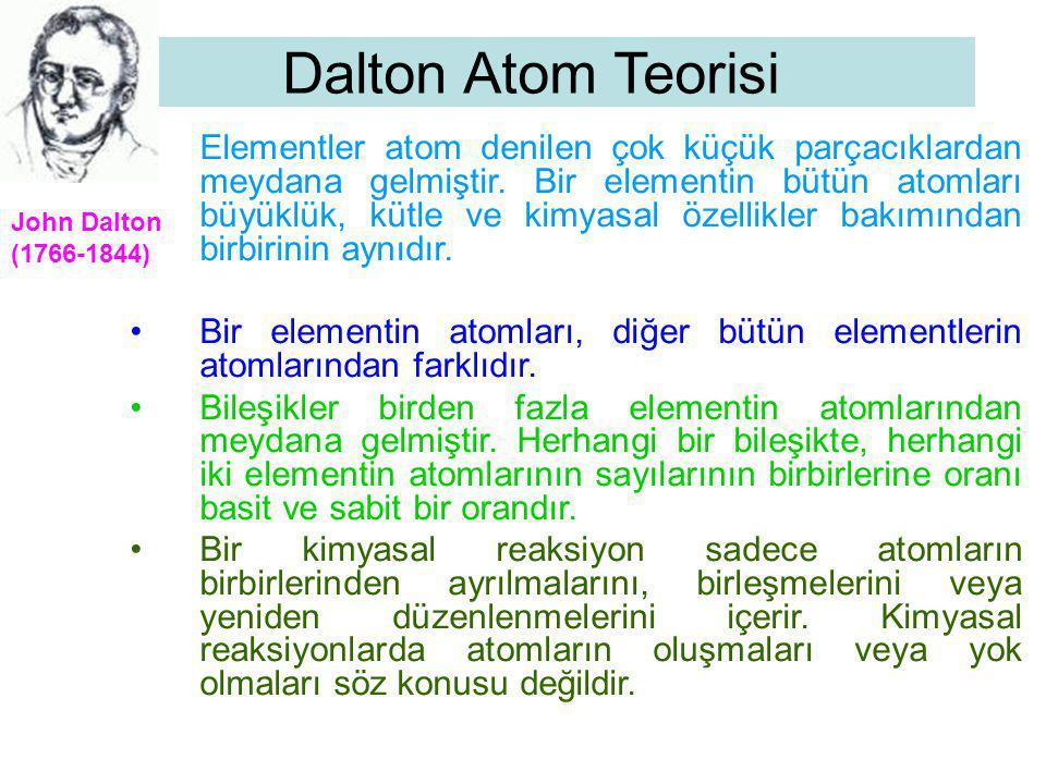 Dalton Atom Teorisi Elementler atom denilen çok küçük parçacıklardan meydana gelmiştir. Bir elementin bütün atomları büyüklük, kütle ve kimyasal özell