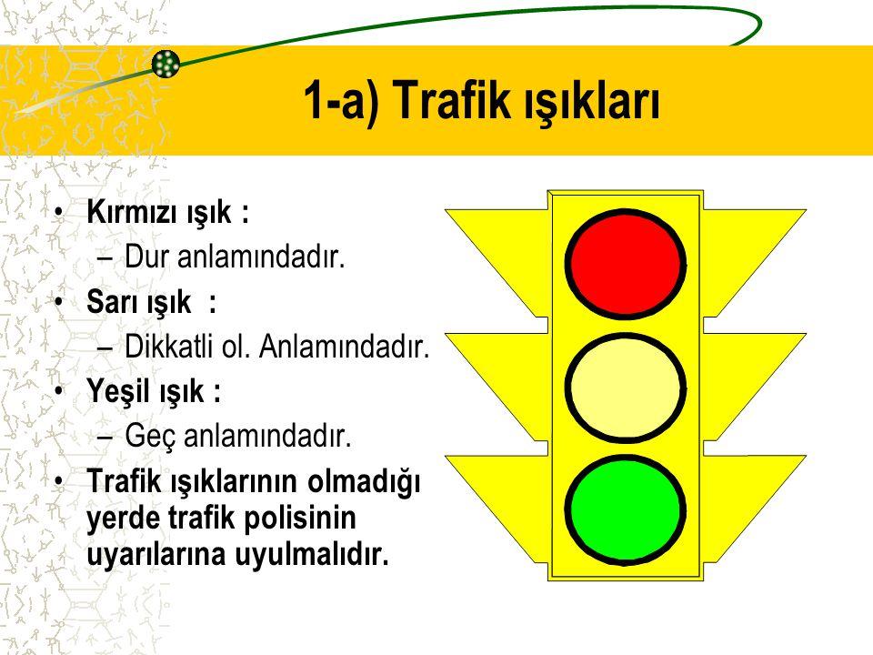 1-TRAFİK KURALLARI Trafik kurallarının, en önemlilerinden biri de trafik ışıklarına uymaktır. Kara yolu üzerinde birtakım kavşak ve yaya geçitleri var