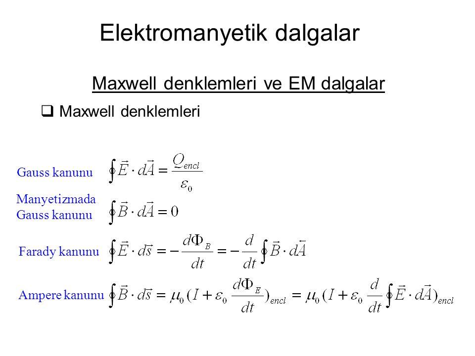 Elektromanyetik dalgalar Maxwell denklemleri ve EM dalgalar  Maxwell denklemleri Gauss kanunu Manyetizmada Gauss kanunu Farady kanunu Ampere kanunu