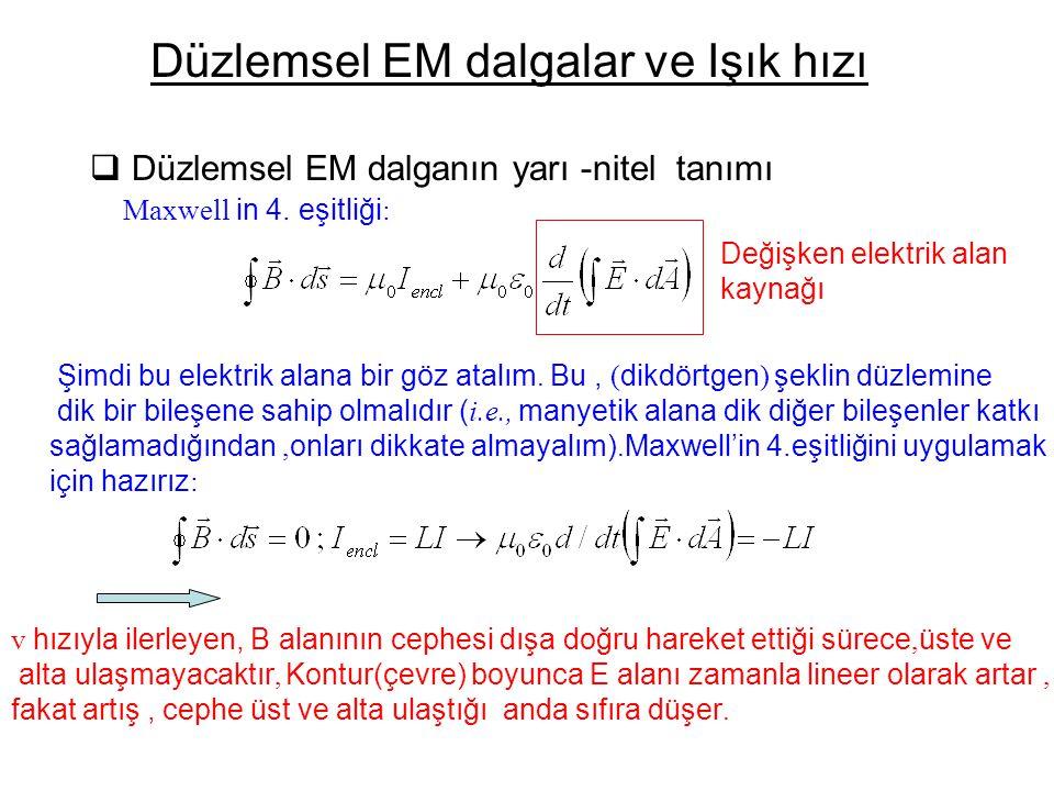 Düzlemsel EM dalganın yarı -nitel tanımı Düzlemsel EM dalgalar ve Işık hızı Maxwell in 4.