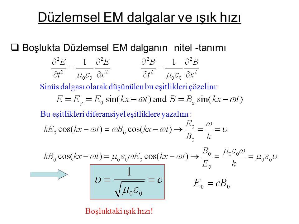  Boşlukta Düzlemsel EM dalganın nitel -tanımı Düzlemsel EM dalgalar ve ışık hızı Sinüs dalgası olarak düşünülen bu eşitlikleri çözelim: Bu eşitlikleri diferansiyel eşitliklere yazalım : Boşluktaki ışık hızı!
