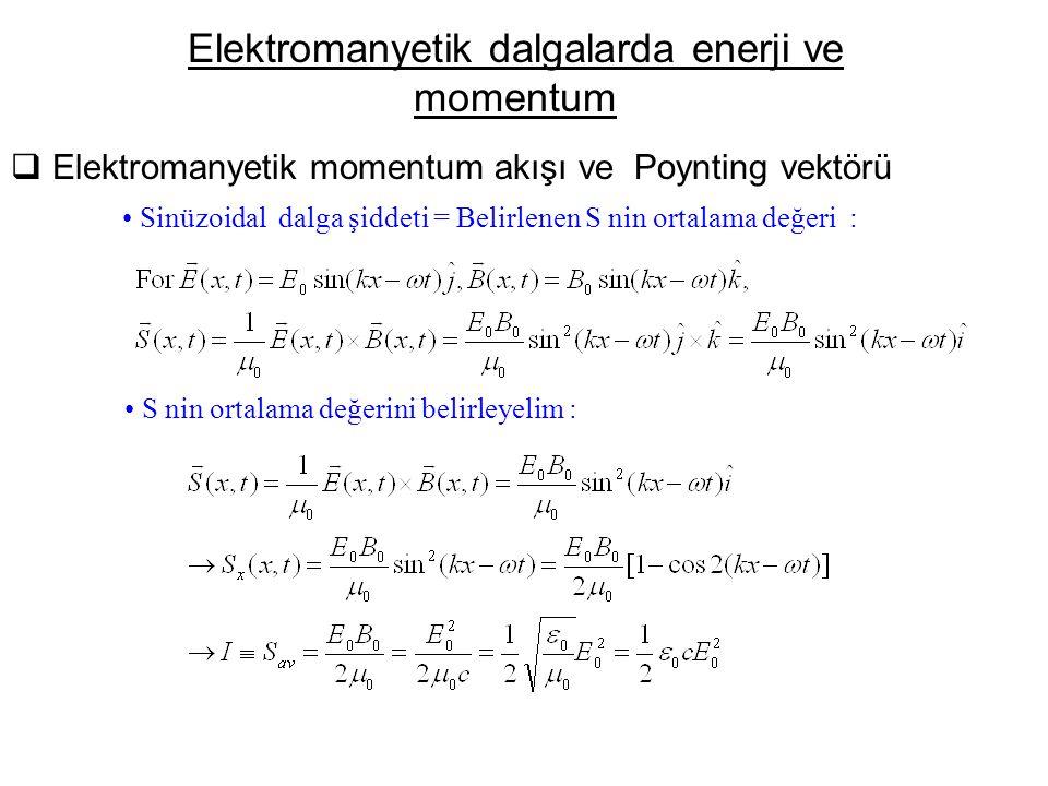  Elektromanyetik momentum akışı ve Poynting vektörü Elektromanyetik dalgalarda enerji ve momentum Sinüzoidal dalga şiddeti = Belirlenen S nin ortalama değeri : S nin ortalama değerini belirleyelim :