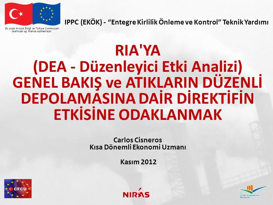 RIA / DEA RAPORU İÇİNDEKİLER Bu proje Avrupa Birliği ile Türkiye Cumhuriyeti tarafından eş finanse edilmektedir.