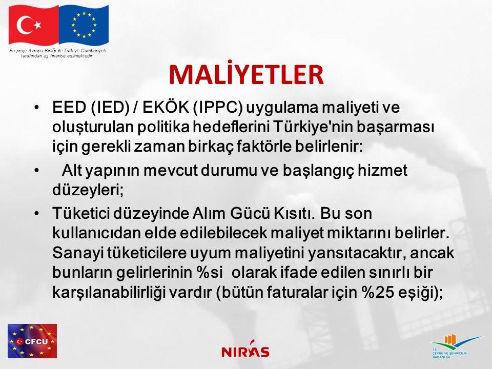 MALİYETLER EED (IED) / EKÖK (IPPC) uygulama maliyeti ve oluşturulan politika hedeflerini Türkiye nin başarması için gerekli zaman birkaç faktörle belirlenir: Alt yapının mevcut durumu ve başlangıç hizmet düzeyleri; Tüketici düzeyinde Alım Gücü Kısıtı.