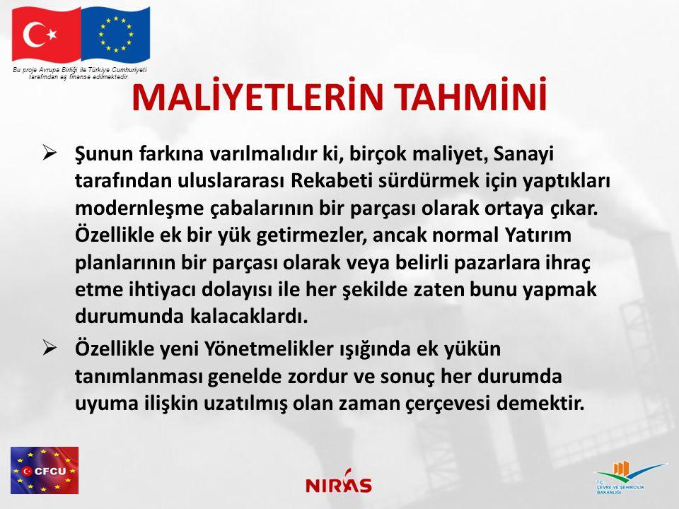 UYUMUN MALİYETLER ÜZERİNDE ETKİSİ Bu proje Avrupa Birliği ile Türkiye Cumhuriyeti tarafından eş finanse edilmektedir.
