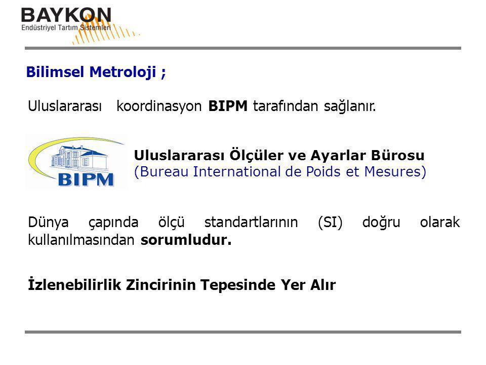 Bilimsel Metroloji ; Uluslararası koordinasyon BIPM tarafından sağlanır. Dünya çapında ölçü standartlarının (SI) doğru olarak kullanılmasından sorumlu
