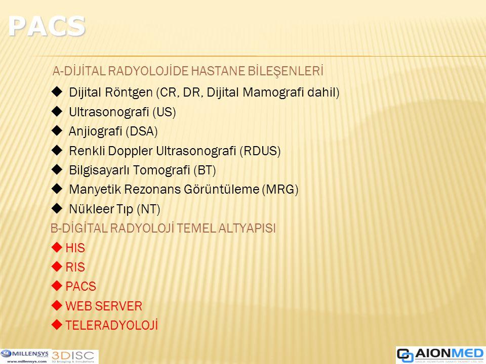 A-DİJİTAL RADYOLOJİDE HASTANE BİLEŞENLERİ u Dijital Röntgen (CR, DR, Dijital Mamografi dahil) u Ultrasonografi (US) u Anjiografi (DSA) u Renkli Doppler Ultrasonografi (RDUS) u Bilgisayarlı Tomografi (BT) u Manyetik Rezonans Görüntüleme (MRG) u Nükleer Tıp (NT) B-DİGİTAL RADYOLOJİ TEMEL ALTYAPISI uHIS uRIS uPACS uWEB SERVER uTELERADYOLOJİ PACS
