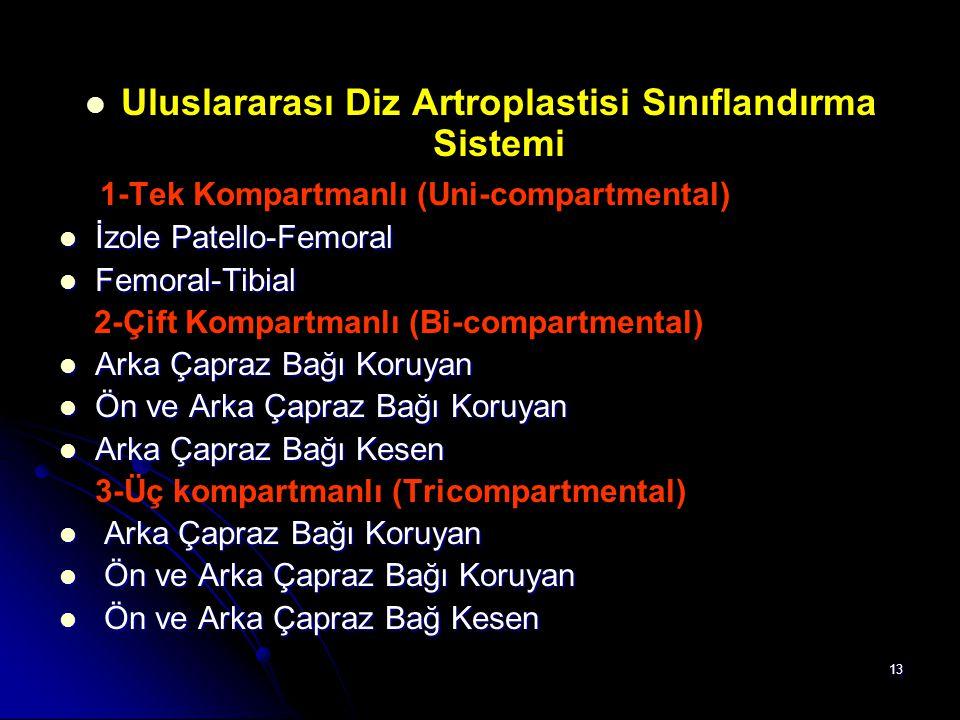 13 Uluslararası Diz Artroplastisi Sınıflandırma Sistemi 1-Tek Kompartmanlı (Uni-compartmental) İzole Patello-Femoral İzole Patello-Femoral Femoral-Tib