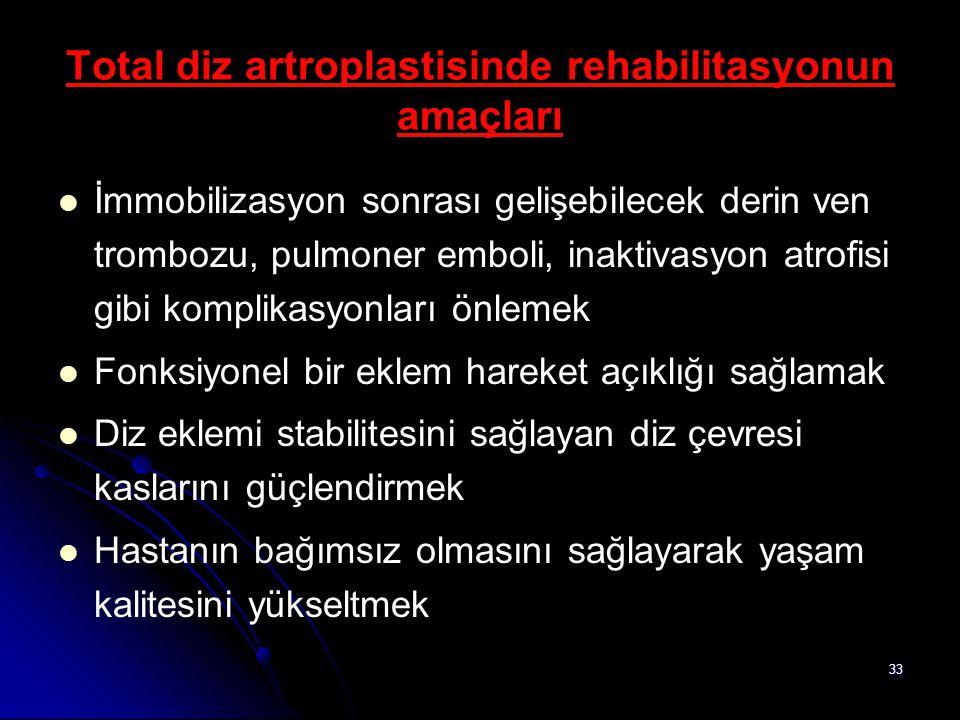 33 Total diz artroplastisinde rehabilitasyonun amaçları İmmobilizasyon sonrası gelişebilecek derin ven trombozu, pulmoner emboli, inaktivasyon atrofis