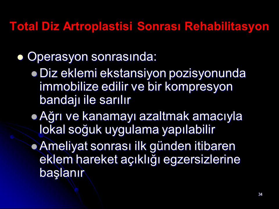 34 Total Diz Artroplastisi Sonrası Rehabilitasyon Operasyon sonrasında: Operasyon sonrasında: Diz eklemi ekstansiyon pozisyonunda immobilize edilir ve