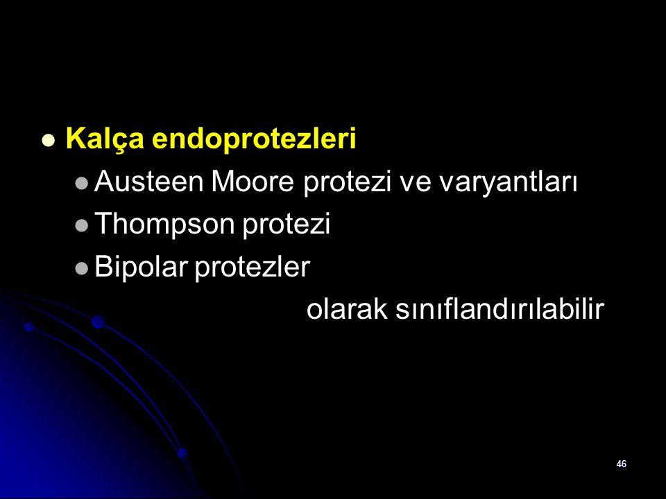 46 Kalça endoprotezleri Austeen Moore protezi ve varyantları Thompson protezi Bipolar protezler olarak sınıflandırılabilir