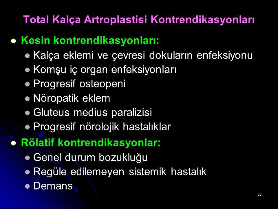 55 Total Kalça Artroplastisi Kontrendikasyonları Kesin kontrendikasyonları: Kalça eklemi ve çevresi dokuların enfeksiyonu Komşu iç organ enfeksiyonlar