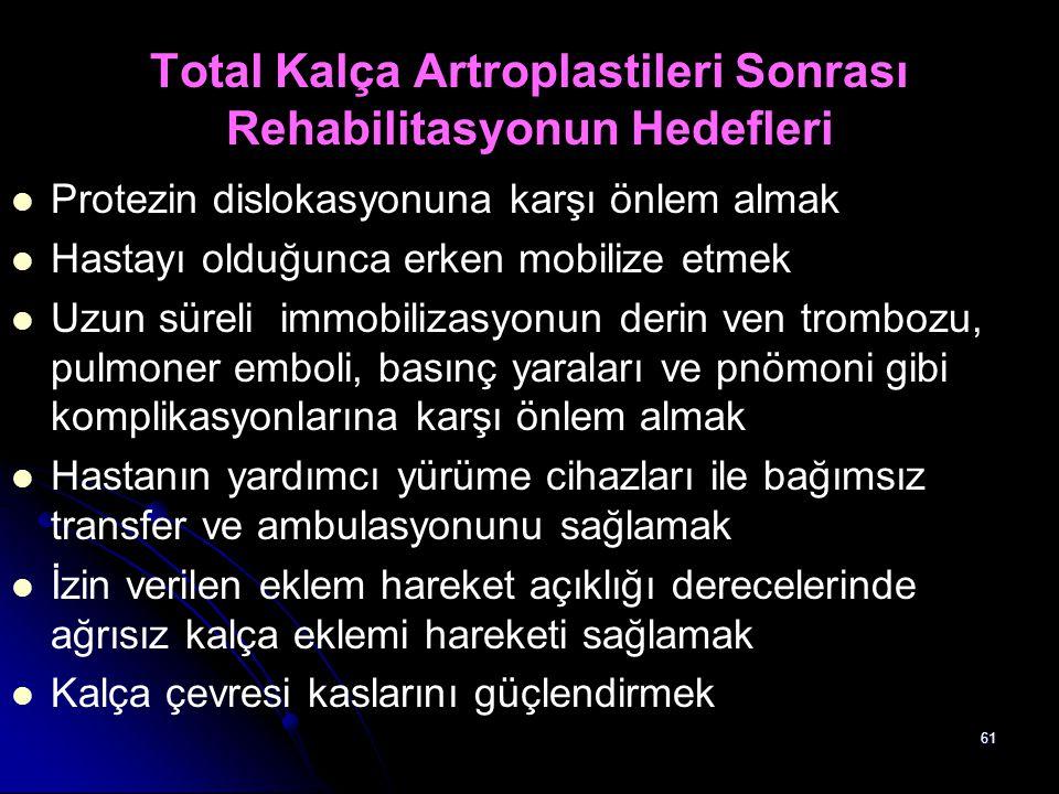 61 Total Kalça Artroplastileri Sonrası Rehabilitasyonun Hedefleri Protezin dislokasyonuna karşı önlem almak Hastayı olduğunca erken mobilize etmek Uzu