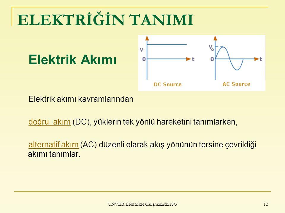 ÜNVER Elektrikle Çalışmalarda ISG 12 ELEKTRİĞİN TANIMI Elektrik Akımı Elektrik akımı kavramlarından doğru akımdoğru akım (DC), yüklerin tek yönlü hare