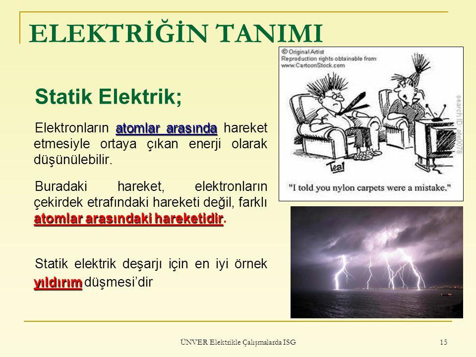 ÜNVER Elektrikle Çalışmalarda ISG 15 ELEKTRİĞİN TANIMI Statik Elektrik; atomlar arasında Elektronların atomlar arasında hareket etmesiyle ortaya çıkan