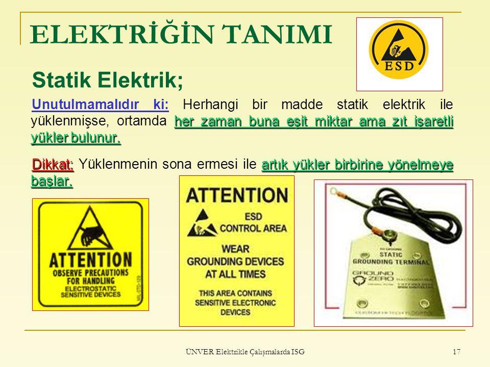 ÜNVER Elektrikle Çalışmalarda ISG 17 ELEKTRİĞİN TANIMI Statik Elektrik; her zaman buna eşit miktar ama zıt işaretli yükler bulunur. Unutulmamalıdır ki