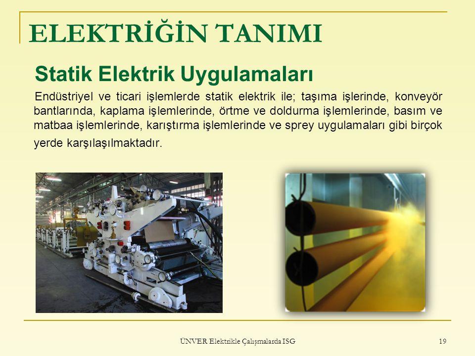 ÜNVER Elektrikle Çalışmalarda ISG 19 ELEKTRİĞİN TANIMI Statik Elektrik Uygulamaları Endüstriyel ve ticari işlemlerde statik elektrik ile; taşıma işler