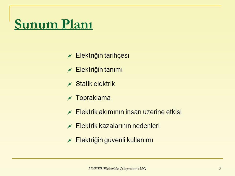 ÜNVER Elektrikle Çalışmalarda ISG 43 ELEKTRİK AKIMININ İNSAN ÜZERİNE ETKİSİ UNUTMAYALIM!!.