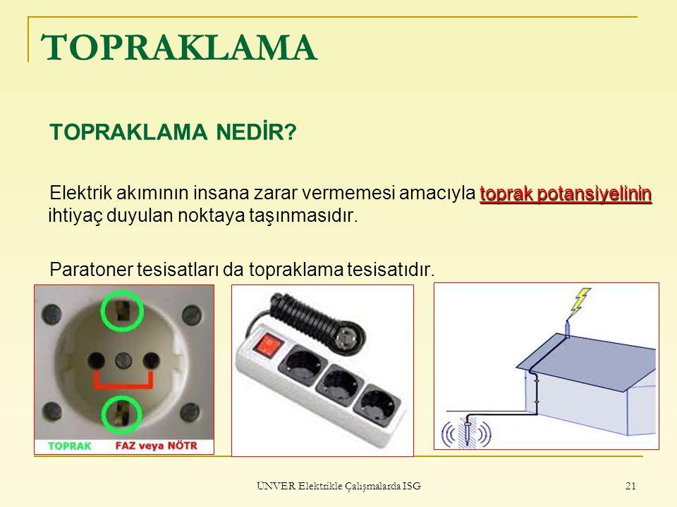 ÜNVER Elektrikle Çalışmalarda ISG 21 TOPRAKLAMA TOPRAKLAMA NEDİR? toprak potansiyelinin Elektrik akımının insana zarar vermemesi amacıyla toprak potan