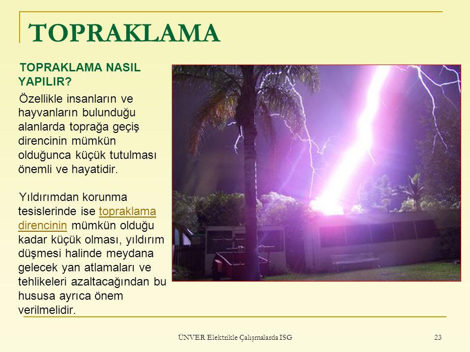 ÜNVER Elektrikle Çalışmalarda ISG 23 TOPRAKLAMA TOPRAKLAMA NASIL YAPILIR? Özellikle insanların ve hayvanların bulunduğu alanlarda toprağa geçiş direnc