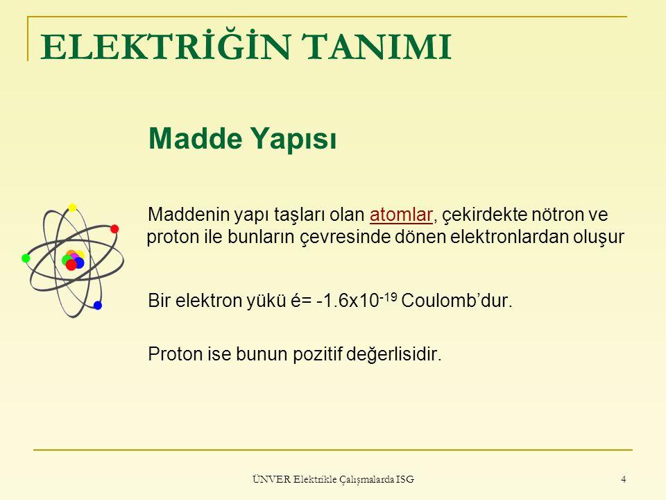ÜNVER Elektrikle Çalışmalarda ISG 4 ELEKTRİĞİN TANIMI Madde Yapısı Maddenin yapı taşları olan atomlar, çekirdekte nötron ve proton ile bunların çevres