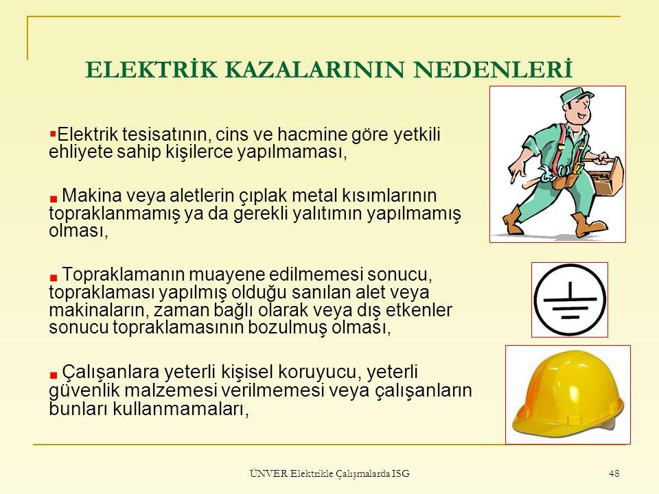 ÜNVER Elektrikle Çalışmalarda ISG 48 ELEKTRİK KAZALARININ NEDENLERİ  Elektrik tesisatının, cins ve hacmine göre yetkili ehliyete sahip kişilerce yapı