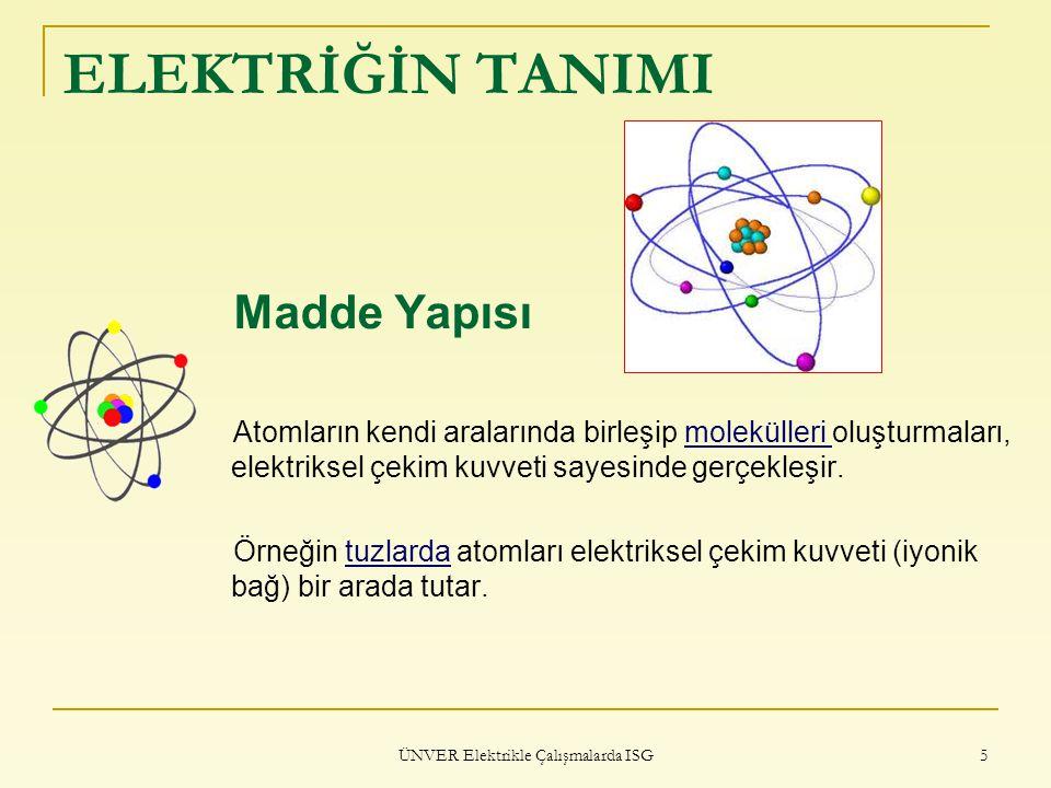 ÜNVER Elektrikle Çalışmalarda ISG 5 ELEKTRİĞİN TANIMI Madde Yapısı Atomların kendi aralarında birleşip molekülleri oluşturmaları, elektriksel çekim ku