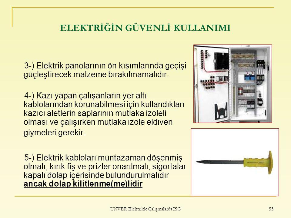 ÜNVER Elektrikle Çalışmalarda ISG 55 ELEKTRİĞİN GÜVENLİ KULLANIMI 3-) Elektrik panolarının ön kısımlarında geçişi güçleştirecek malzeme bırakılmamalıd