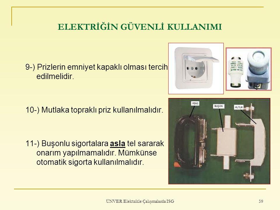 ÜNVER Elektrikle Çalışmalarda ISG 59 ELEKTRİĞİN GÜVENLİ KULLANIMI 9-) Prizlerin emniyet kapaklı olması tercih edilmelidir. 10-) Mutlaka topraklı priz