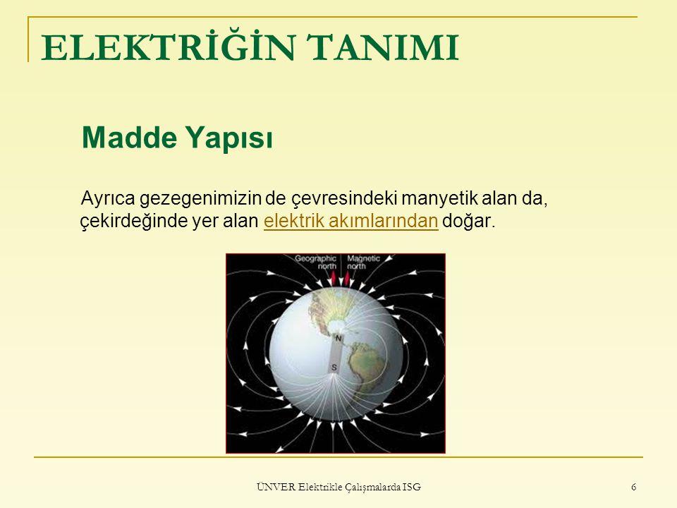 ÜNVER Elektrikle Çalışmalarda ISG 57 ELEKTRİĞİN GÜVENLİ KULLANIMI 7-) Çeşitli cihazların veya lambaların enerji kablolarının fişini prize takmadan önce bu teçhizat veya lambanın kapalı (off/0) olduğu kontrol edilmelidir.