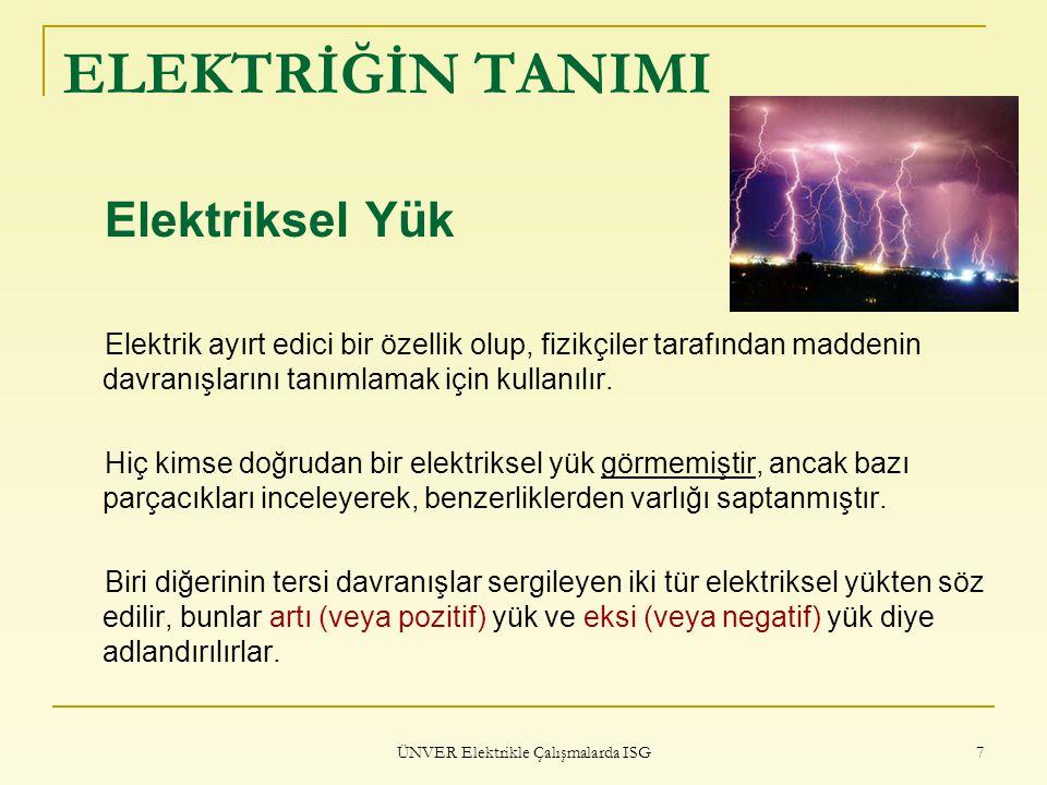 ÜNVER Elektrikle Çalışmalarda ISG 8 ELEKTRİĞİN TANIMI Elektriksel Yük Farklı türden iki yük ise birbirini çeker aynı türden iki yük ise birbirini iter.