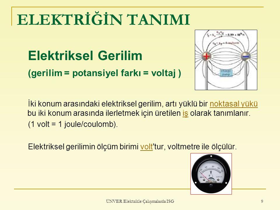 ÜNVER Elektrikle Çalışmalarda ISG 9 ELEKTRİĞİN TANIMI Elektriksel Gerilim (gerilim = potansiyel farkı = voltaj ) İki konum arasındaki elektriksel geri
