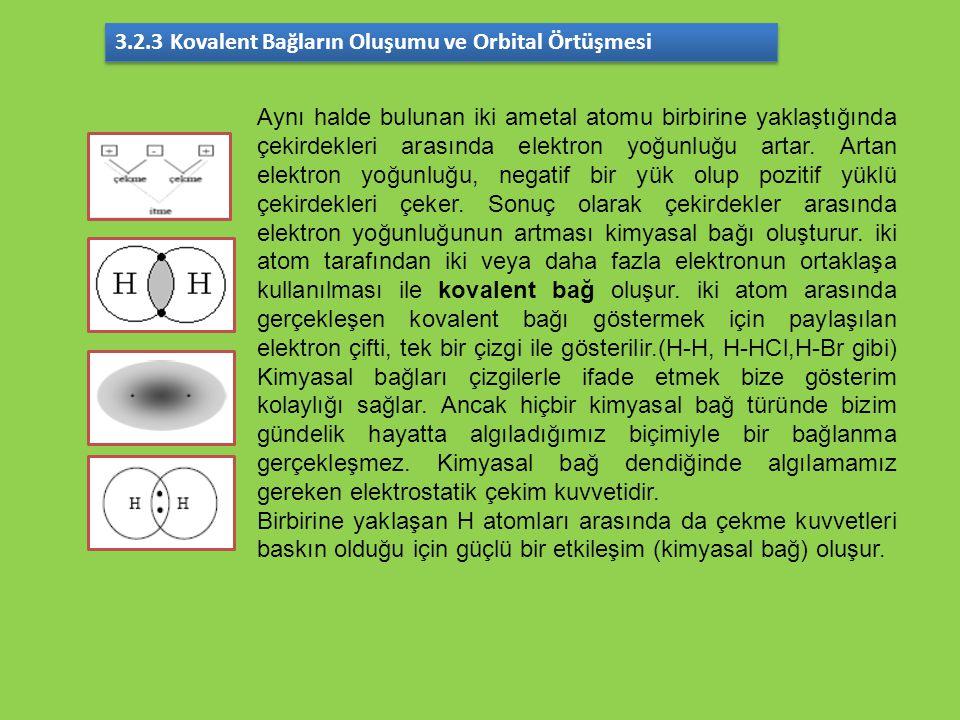 Aynı halde bulunan iki ametal atomu birbirine yaklaştığında çekirdekleri arasında elektron yoğunluğu artar. Artan elektron yoğunluğu, negatif bir yük