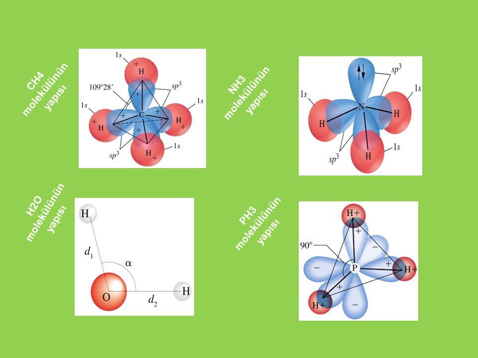 NH3 molekülünün yapısı CH4 molekülünün yapısı H2O molekülünün yapısı PH3 molekülünün yapısı
