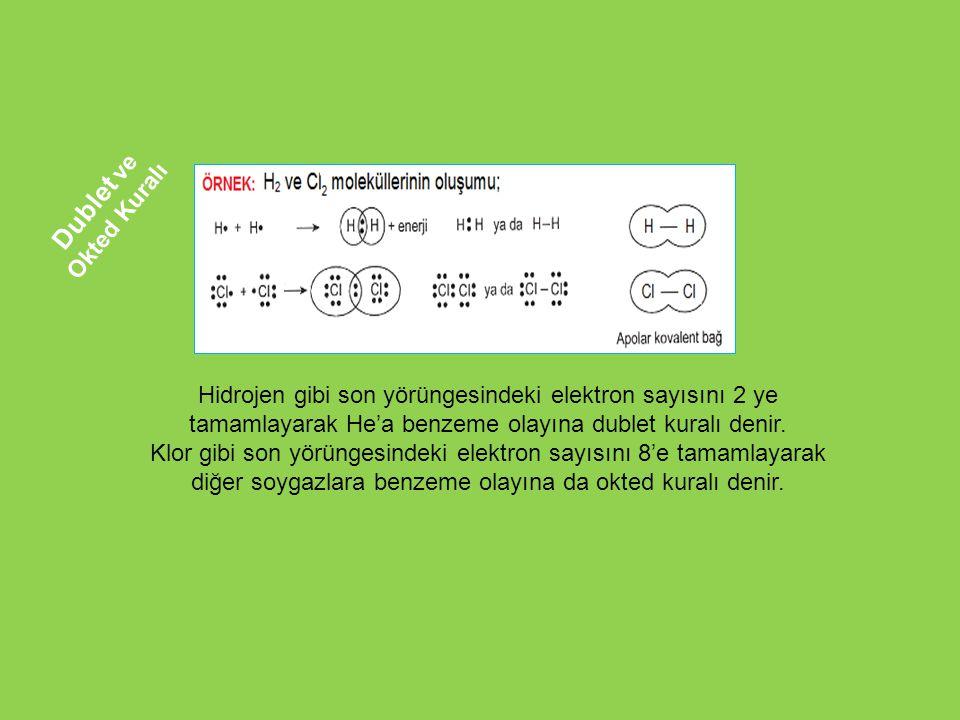 Hidrojen gibi son yörüngesindeki elektron sayısını 2 ye tamamlayarak He'a benzeme olayına dublet kuralı denir. Klor gibi son yörüngesindeki elektron s