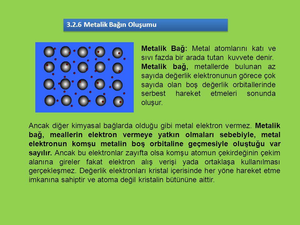 3.2.6 Metalik Bağın Oluşumu Metalik Bağ: Metal atomlarını katı ve sıvı fazda bir arada tutan kuvvete denir. Metalik bağ, metallerde bulunan az sayıda