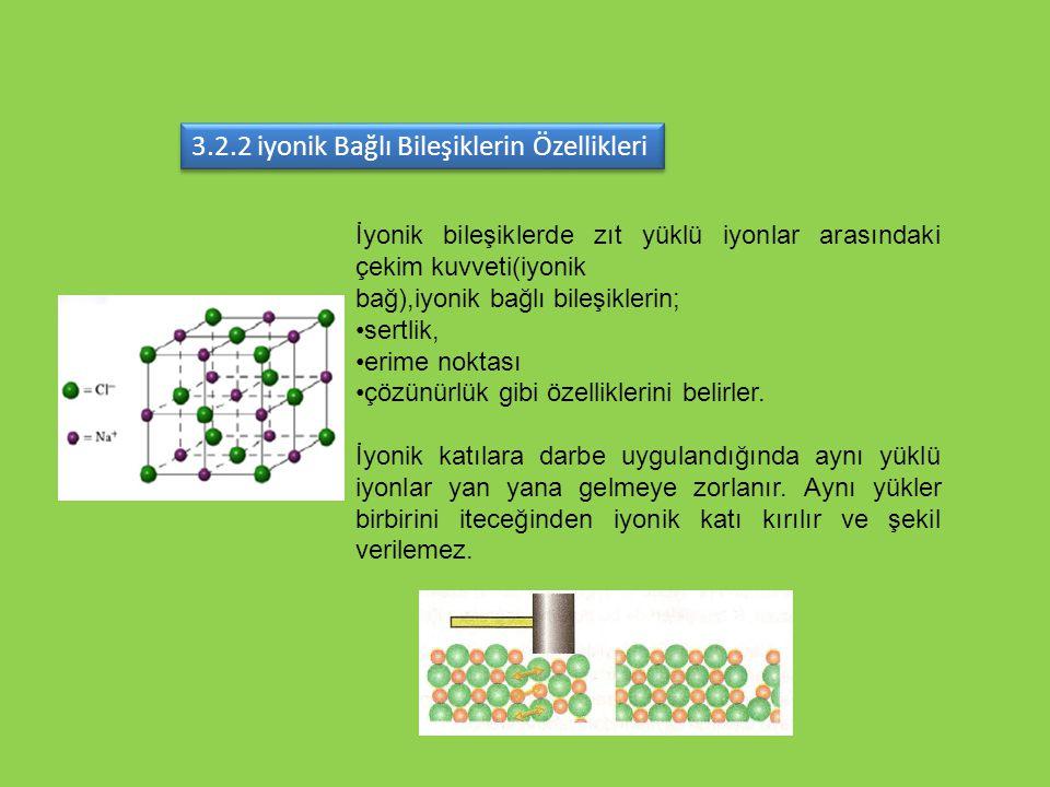 3.2.2 iyonik Bağlı Bileşiklerin Özellikleri İyonik bileşiklerde zıt yüklü iyonlar arasındaki çekim kuvveti(iyonik bağ),iyonik bağlı bileşiklerin; sert