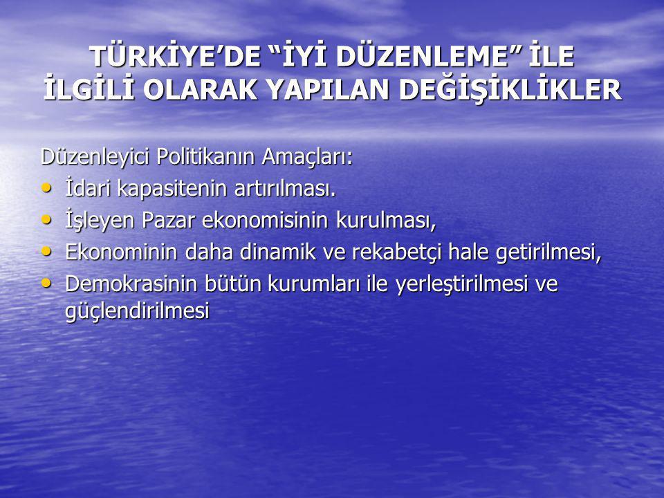TÜRKİYE'DE İYİ DÜZENLEME İLE İLGİLİ OLARAK YAPILAN DEĞİŞİKLİKLER Düzenleyici Politikanın Amaçları: İdari kapasitenin artırılması.