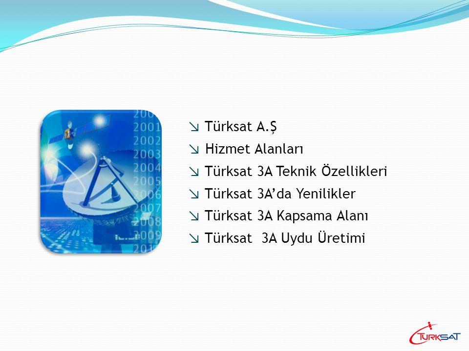 ↘ 22.07.2004 tarihinde Türksat kuruldu ↘ 01.07.2005'de Kablo TV Türksat 'a devredildi ↘ 11 Ağustos 1994'de uzaydaki yerini alan Türksat1B ↘ 10 Temmuz 1996'da uzaya gönderilen Türksat1C ↘ 1 Şubat 2001'de hizmete başlayan Türksat2A ↘ 30 Mayıs 2008'de fırlatılacak olan Türksat 3A Türksat'ın uydu filosunu oluşturmaktadır.