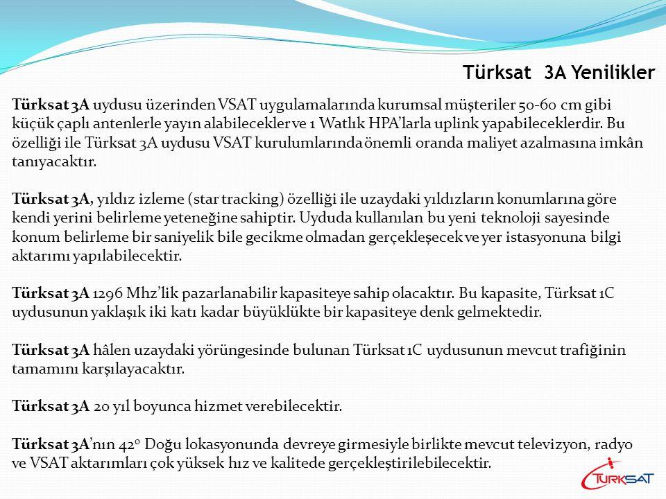 Çıkış (Uplink): TÜRKİYE Kapsama Alanı: Anten Çapı: ø 1.85 m Deployable Anten Maksimum 16 Transponder Türksat 3A Kapsama Alanı