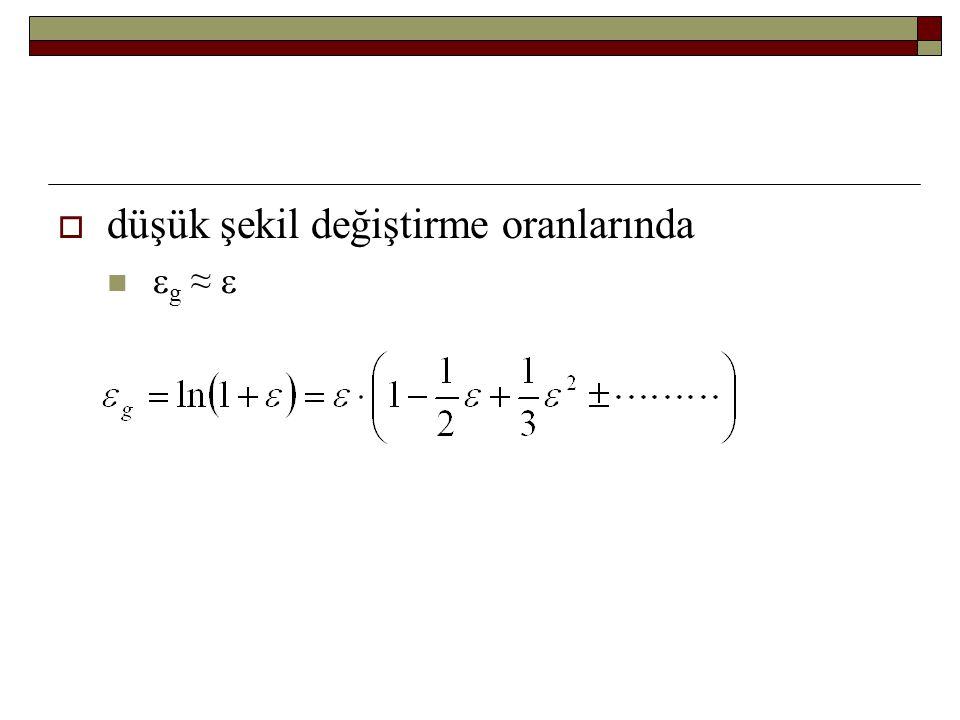  düşük şekil değiştirme oranlarında  g ≈ 