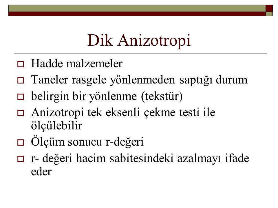 Dik Anizotropi  Hadde malzemeler  Taneler rasgele yönlenmeden saptığı durum  belirgin bir yönlenme (tekstür)  Anizotropi tek eksenli çekme testi i