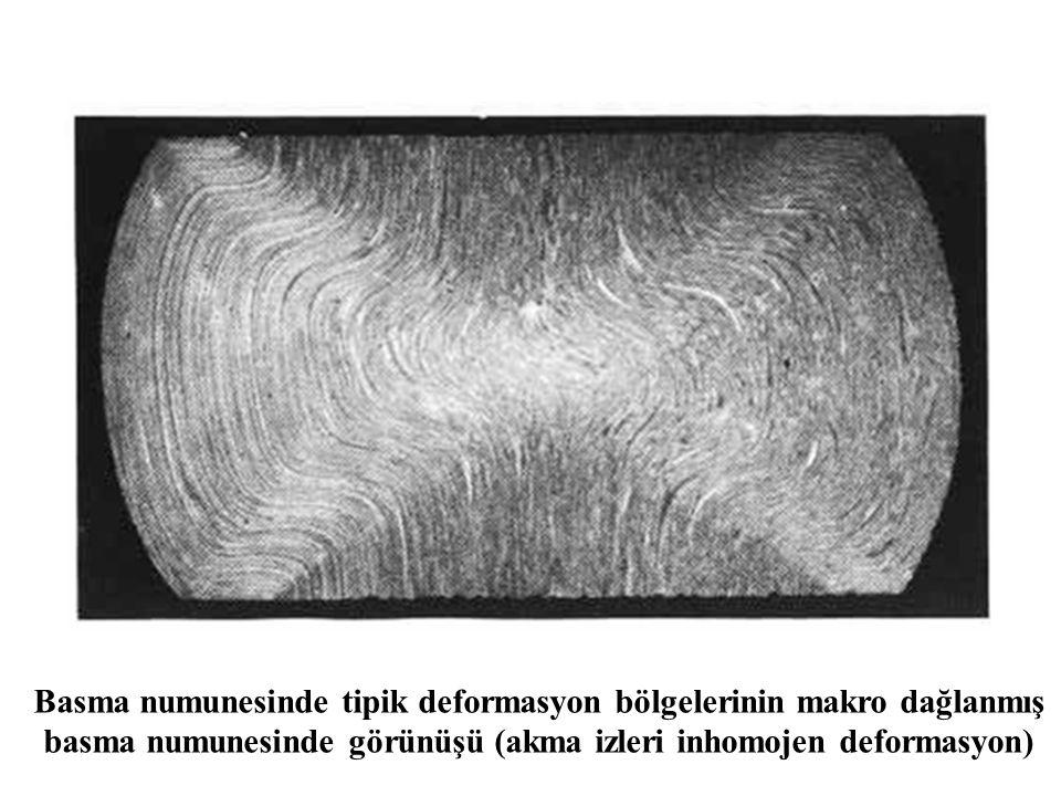 Basma numunesinde tipik deformasyon bölgelerinin makro dağlanmış basma numunesinde görünüşü (akma izleri inhomojen deformasyon)